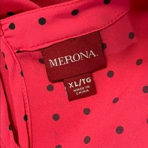 Merona Tops - 🛍Medina Polka Dot Blouse Size XL